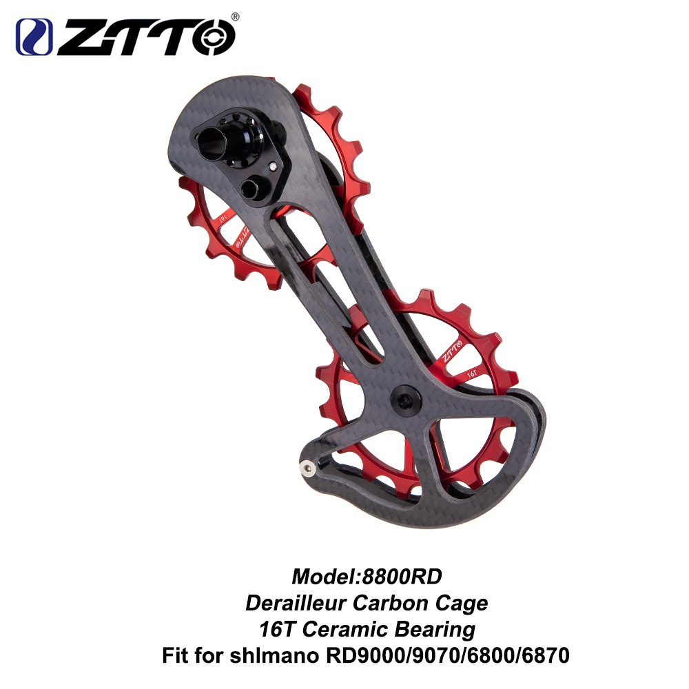 ZTTO Road Bike Carbon Fibre Derailleur Cage With 16T Ceramic Jockey Wheel 16T Oversize Lower Pulley 8800RD