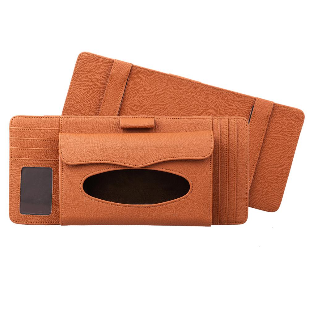 3 in 1 Auto CD Board Tissue Case Sun Shield CD Clip Pen Holder Organizer Car Accessories Orange