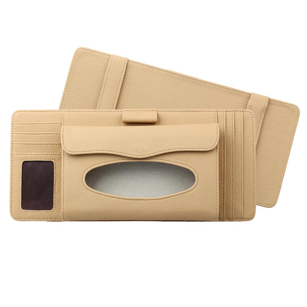 3 in 1 Auto CD Board Tissue Case Sun Shield CD Clip Pen Holder Organizer Car Accessories Beige