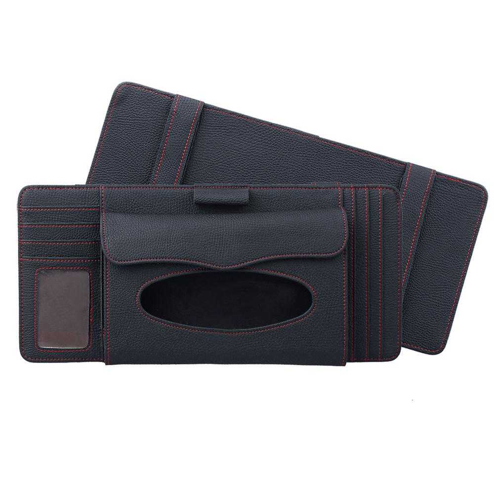 3 in 1 Auto CD Board Tissue Case Sun Shield CD Clip Pen Holder Organizer Car Accessories black