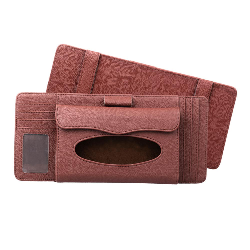 3 in 1 Auto CD Board Tissue Case Sun Shield CD Clip Pen Holder Organizer Car Accessories brown