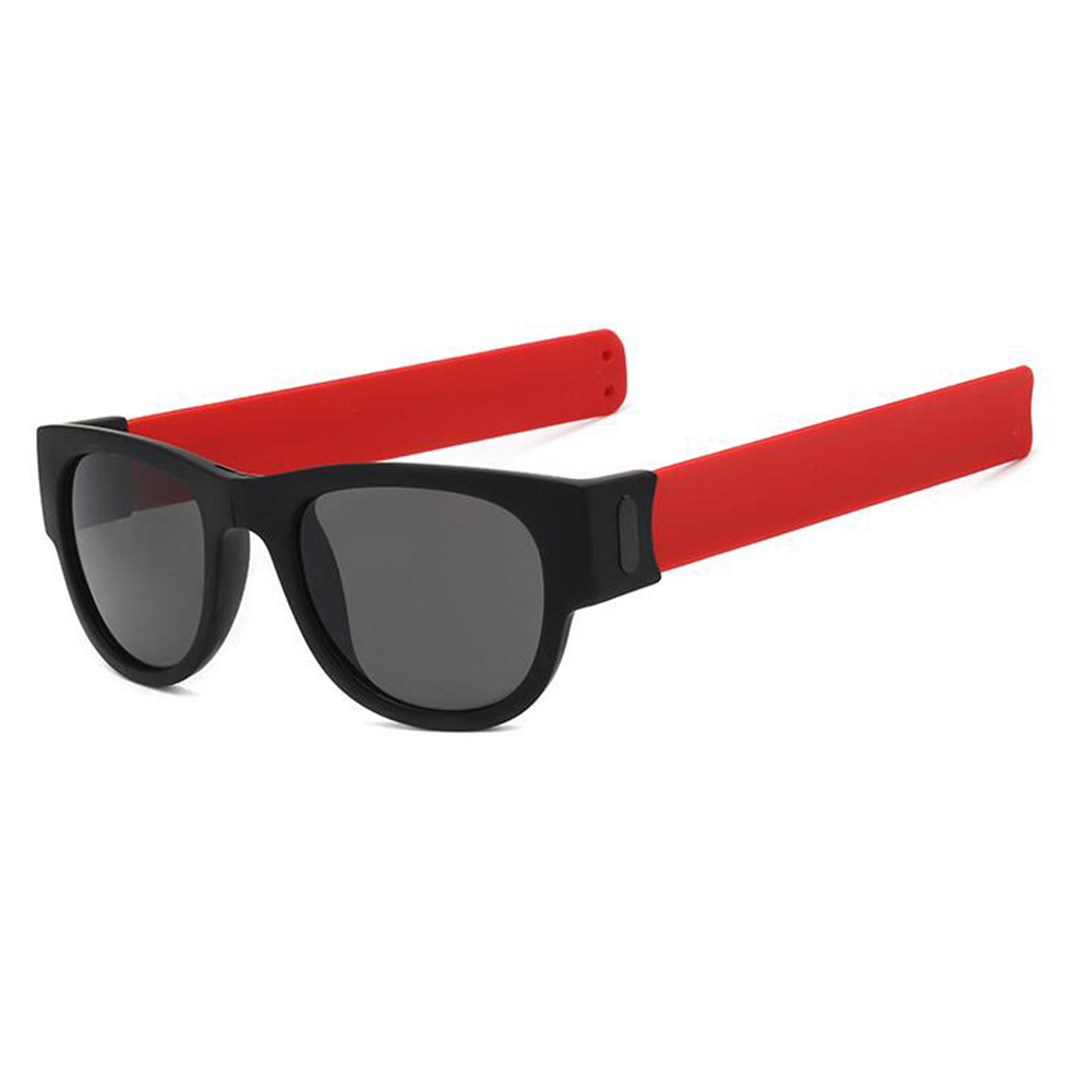 Round Sunglasses for Men and Women Outdoor Fold Sun Glasses Portable Sports Glasses red