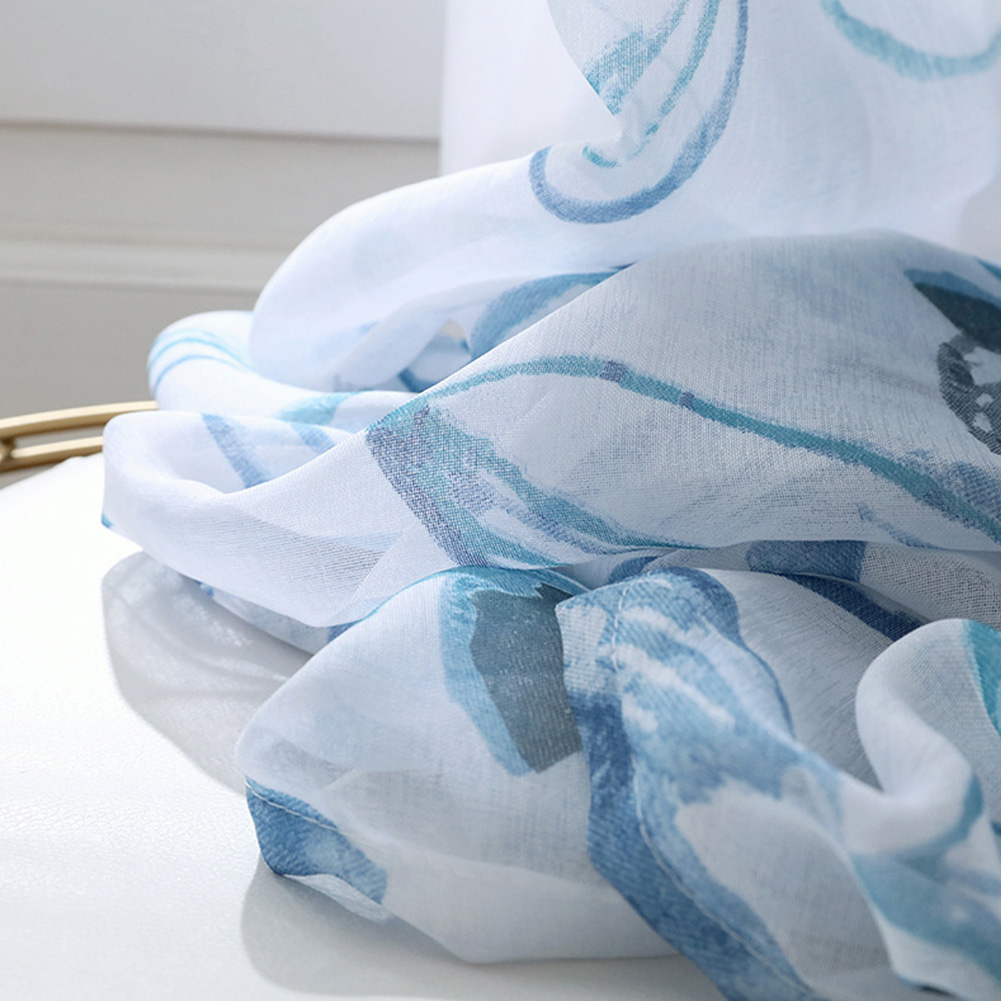 Printing Curtain Spring Tulle for Living Room Bedroom Children Room Window Screening blue_1 * 2 meters high