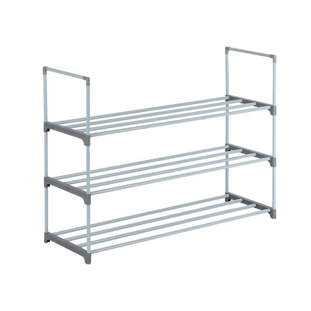 [US Direct] Iron Pipes Shoes  Rack Houseware 3-tier Stackable Shoes Rack Storage Shelf gray