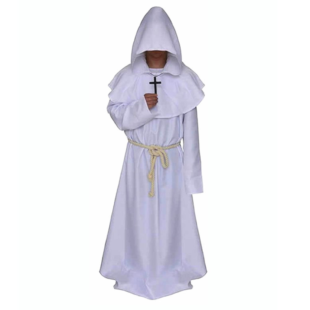 Mediaeval Monks Clothing Pastor Clothes Long Robe Wizard Costume Cosplay Church Fathers Costumes Halloween Masquerade Costume White (medieval monk)_M