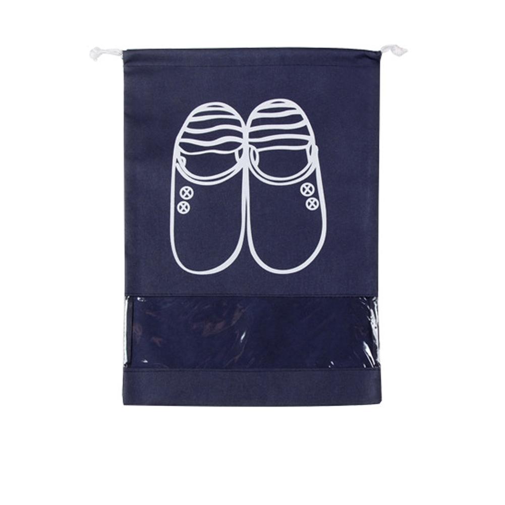 Portable Large Capacity Waterproof Drawstring Shoes Bag for Travel Storage  Navy_Medium