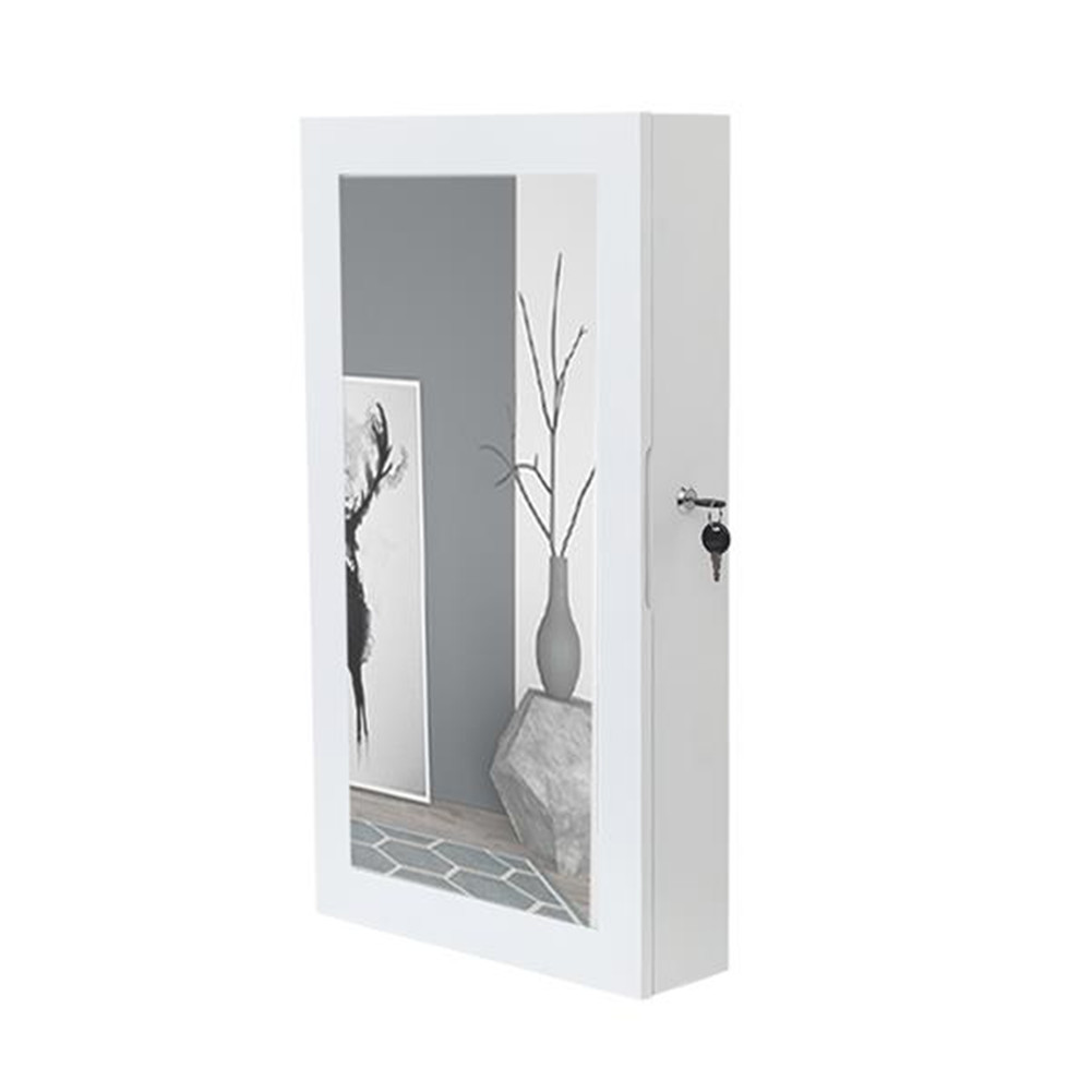 [US Direct] Wooden Wall Hanger Jewelry Storage Cabinet with Mirror Lockable Cabinet White