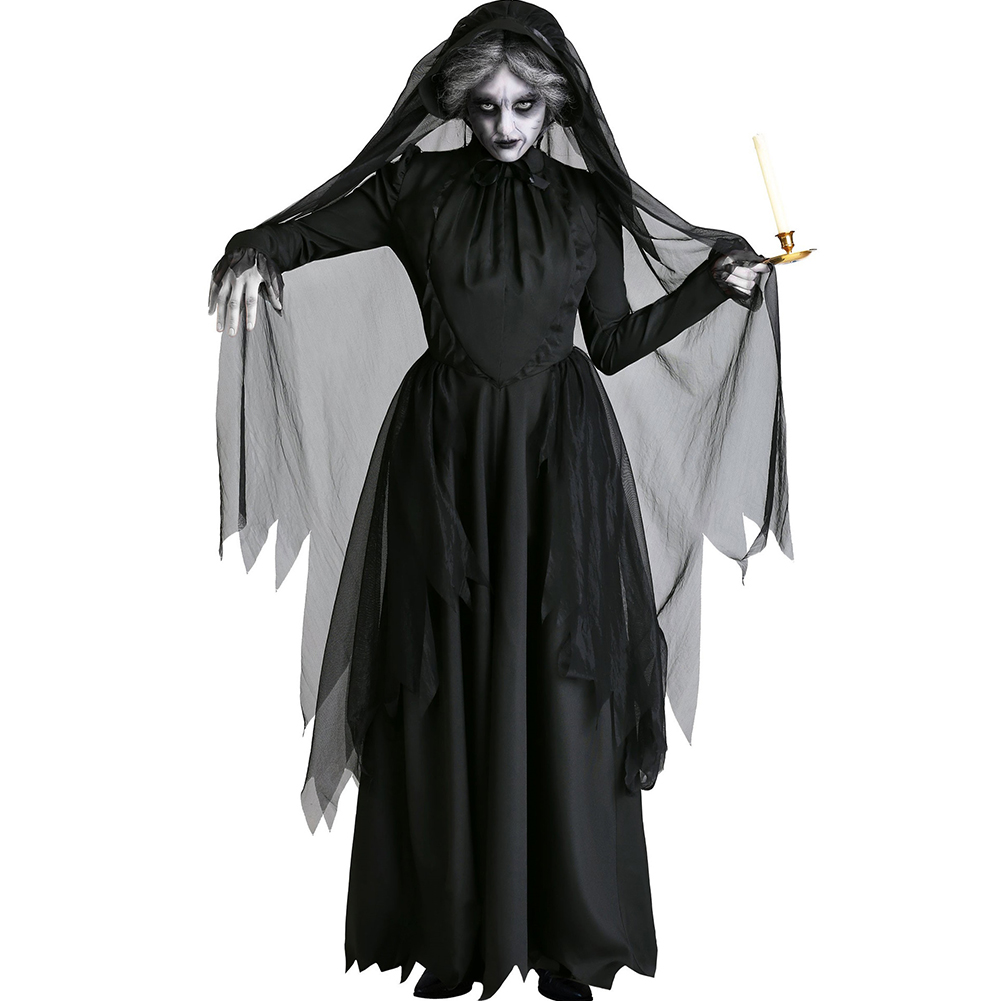 Women Halloween Horror Ghost Bride Costume Goth Vampire Black Dress Witch Dress Party Death Cosplay Costumes black_M