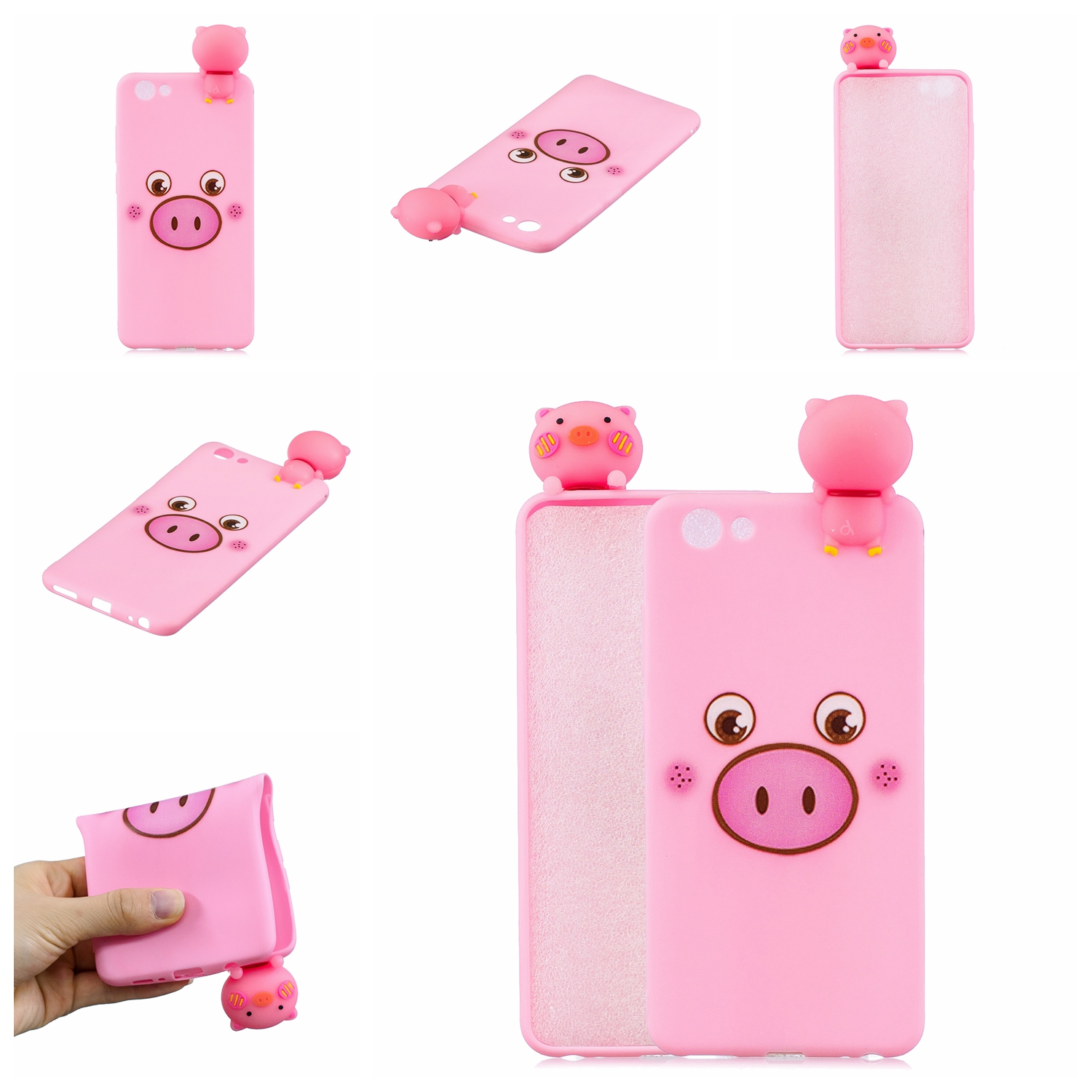 For VIVO Y71 3D Cute Coloured Painted Animal TPU Anti-scratch Non-slip Protective Cover Back Case Small pink pig