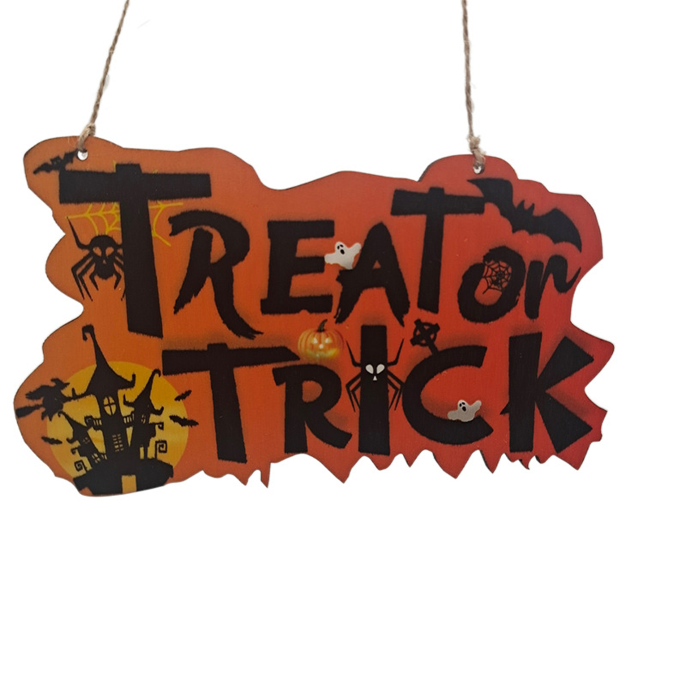 Wooden  Pendant Halloween Pumpkin Skull Spider Bat Party Scene Decorative Ornaments No. 3 18*10CM