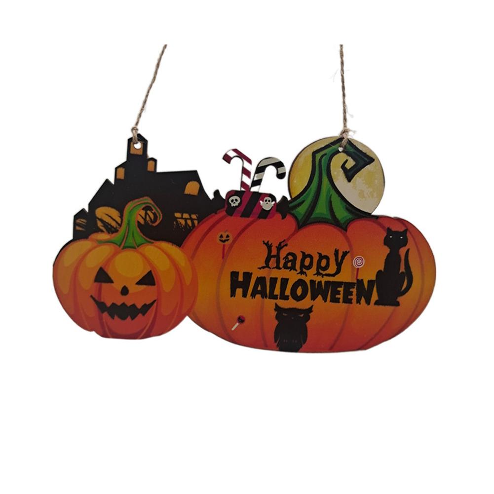 Wooden  Pendant Halloween Pumpkin Skull Spider Bat Party Scene Decorative Ornaments No. 1 18*11.5CM