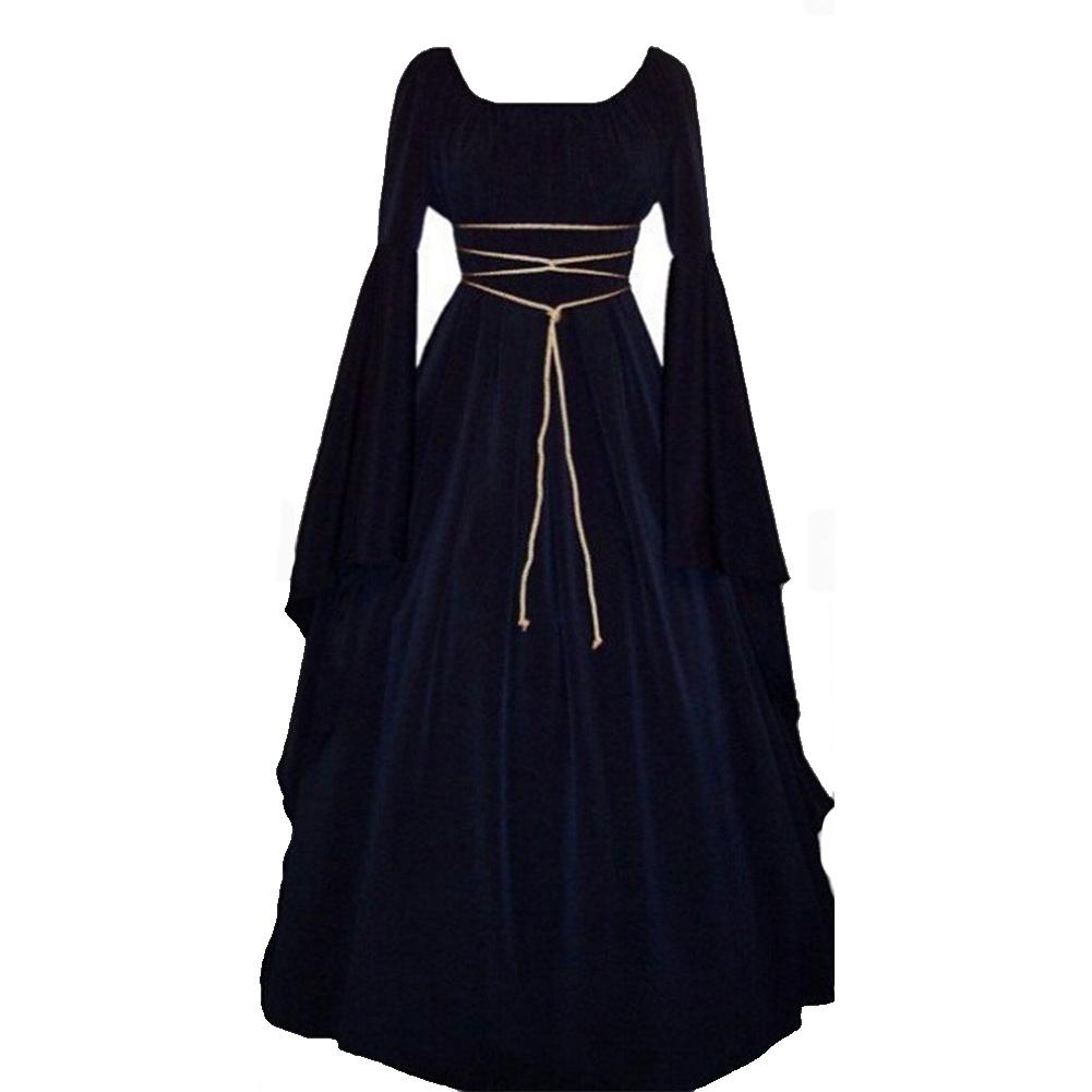 Women Long Sleeve Round Collar Belt Irregular Ladies Dress Halloween Costume Dark blue_L