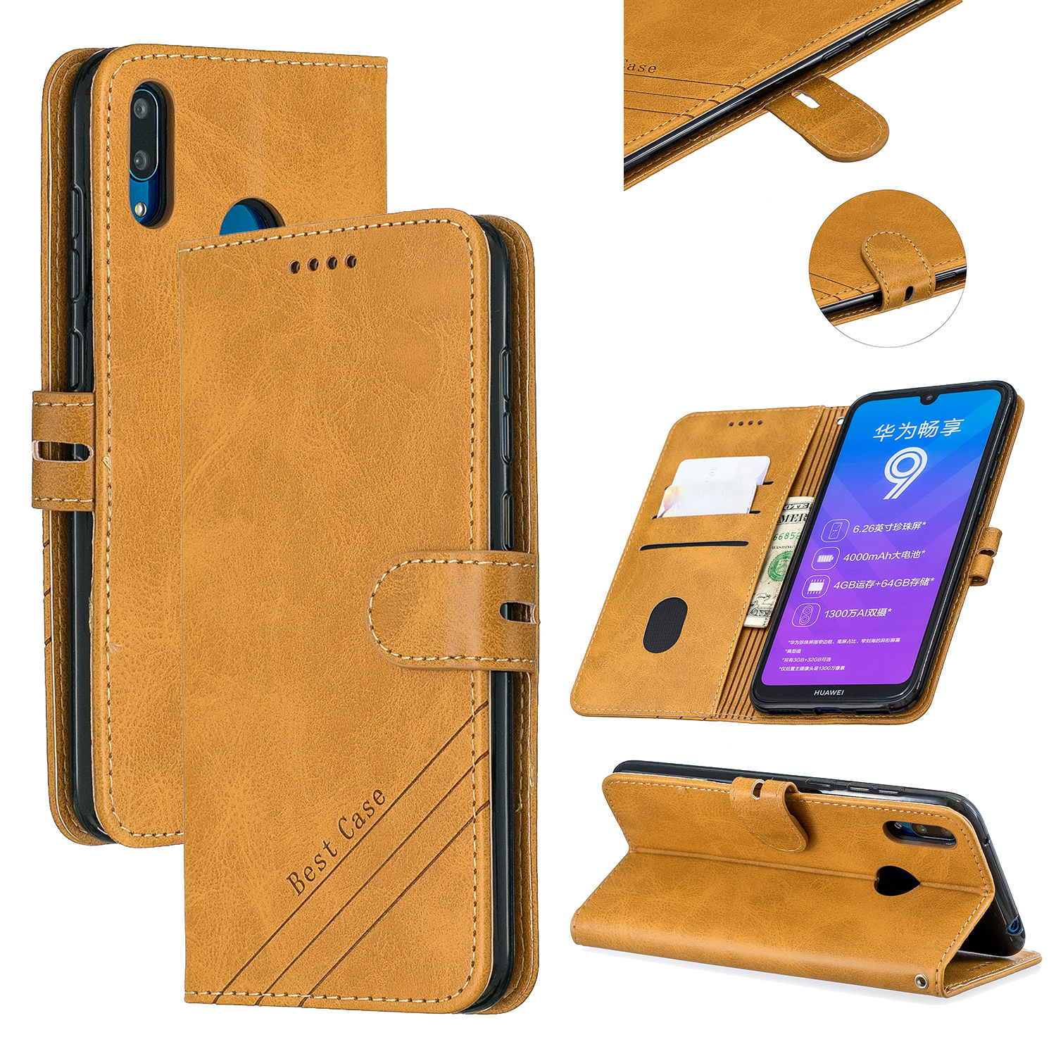 For HUAWEI Y7 2019 Denim Pattern Solid Color Flip Wallet PU Leather Protective Phone Case with Buckle & Bracket yellow