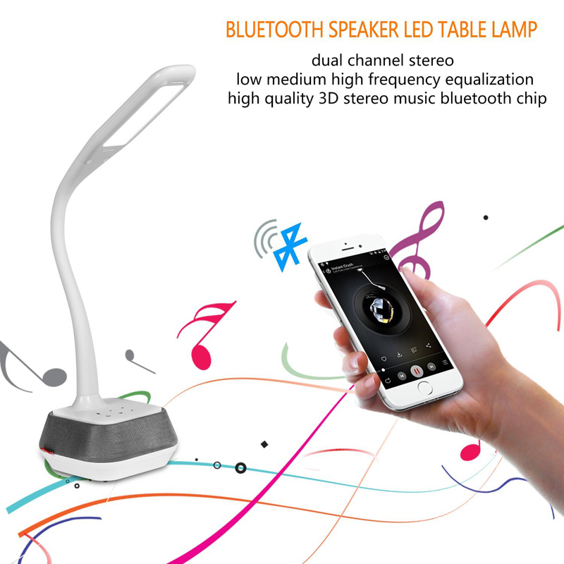 Bluetooth Speaker LED Lamp - Adjustable Brightness, Energy Efficient, Flexible Arm, 260 Lumen, 75dB, 7W Speaker