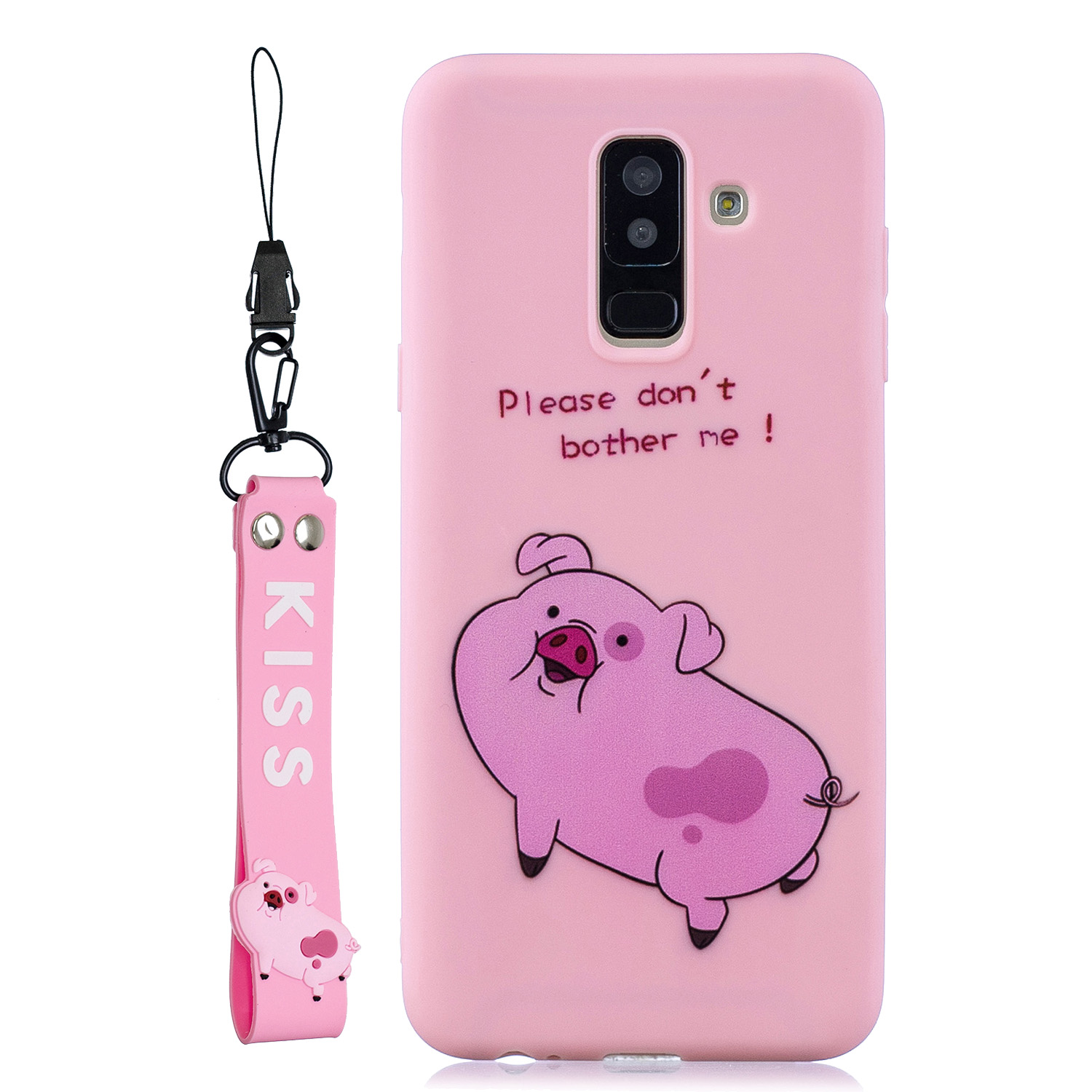 For Samsung A6 plus 2018 Cute Coloured Painted TPU Anti-scratch Non-slip Protective Cover Back Case with Lanyard Rose red
