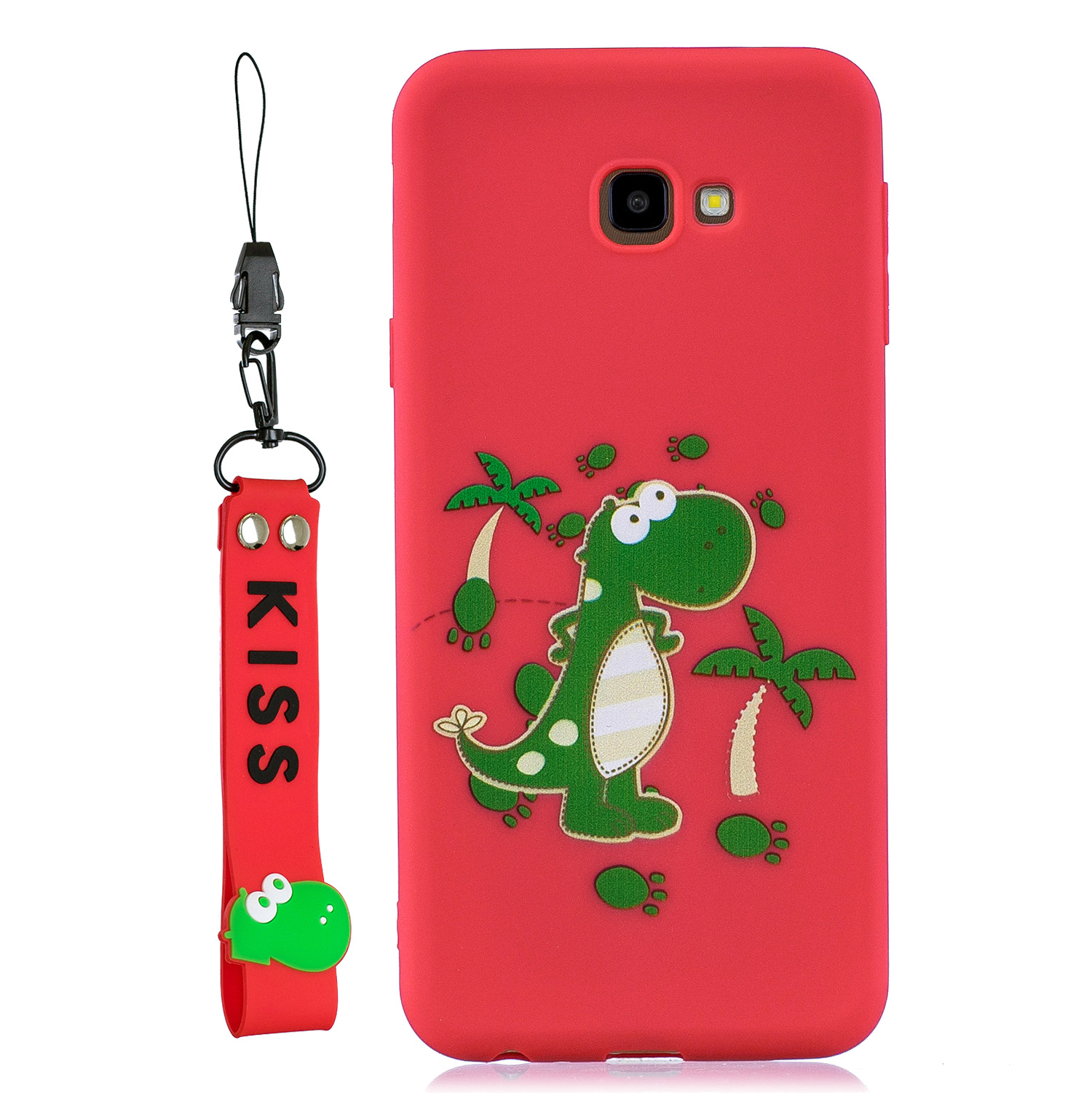 For Samsung J4 plus Cute Coloured Painted TPU Anti-scratch Non-slip Protective Cover Back Case with Lanyard red