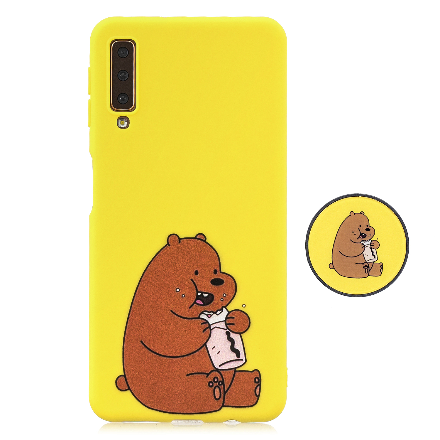 For Samsung A7 2018 A750 Full Cover Protective Phone Case Cartoon Pattern Solid Color TPU Phone Case with Adjustable Bracket 8