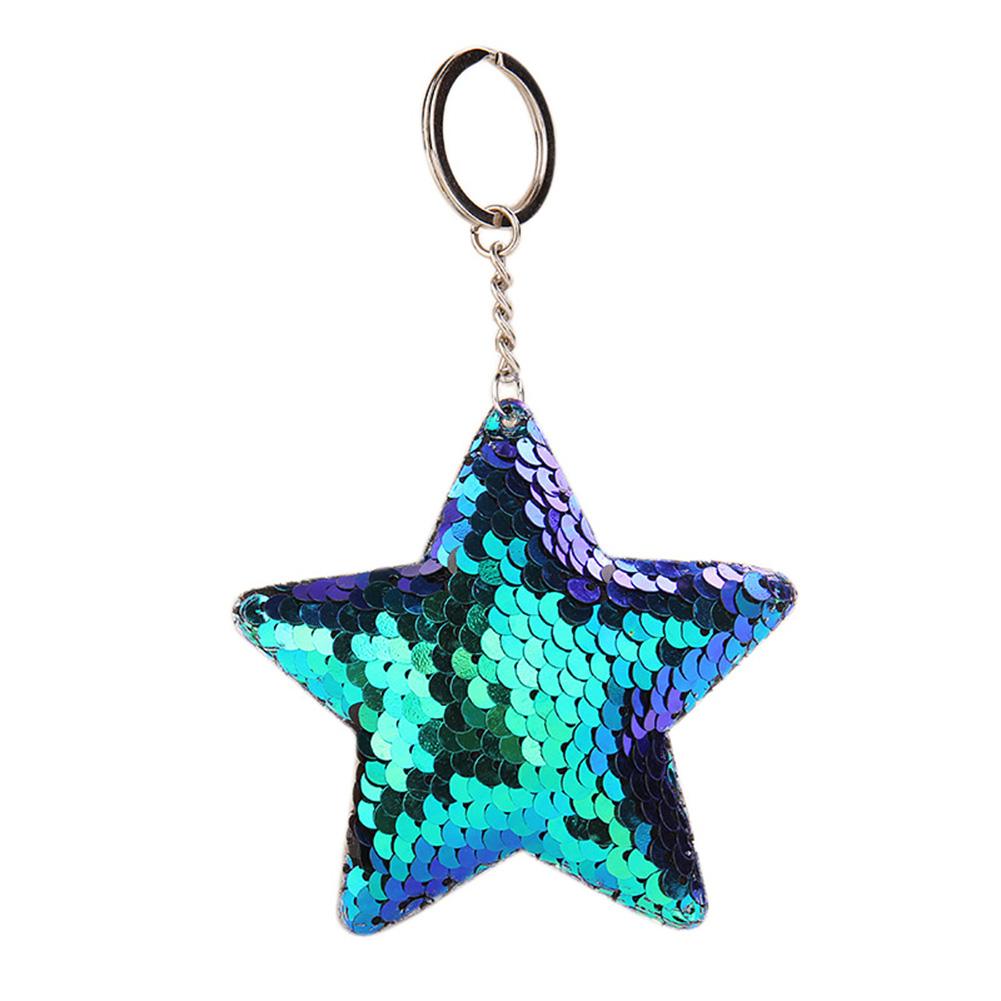 Delicate Sequins Pentagram Key Ring Unique Star Shape Keychain Pendant for Bag Decoration
