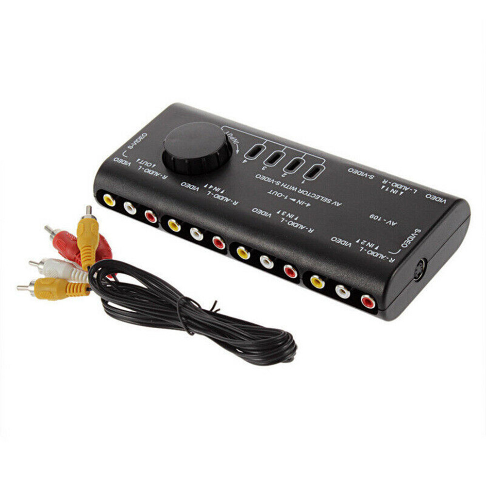 4 In 1 Out AV RCA Switch Box Audio Video Signal 4 Input 1 Output Adapter Black Converter black