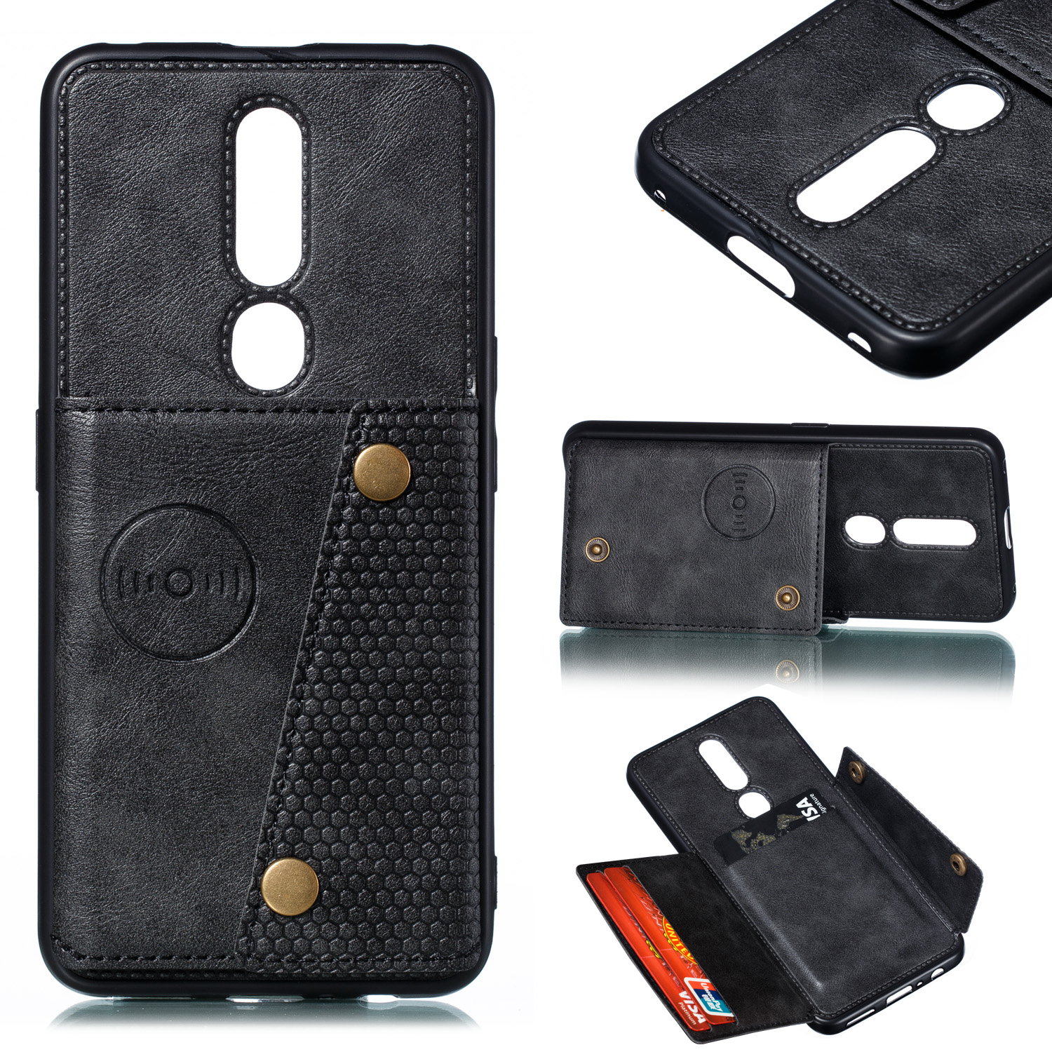 For OPPO F11 pro PU Leather Flip Stand Shockproof Cell Phone Cover Double Buckle Anti-dust Case With Card Slots Pocket black