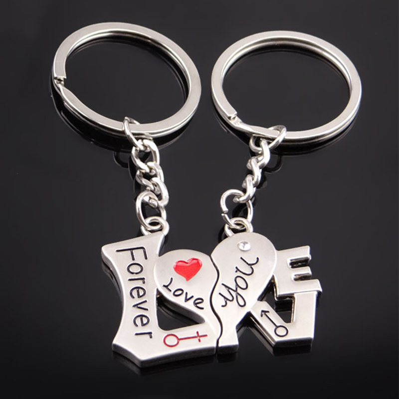 Love Couple Keychain, 1 Pair Love You Forever Key Rings Valentine Gift, Alloy Lovers Keyfob For Birthday Wedding