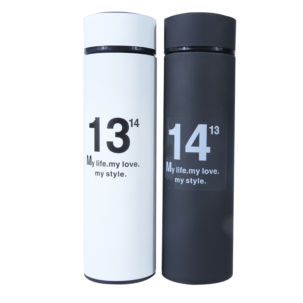 Couple 1314 Thermos Vacuum Flasks, Set of Two Matching Stainless Steel Thermal Cups, 500ml Each, Water Bottles for Wedding and Anniversary Gift Black white