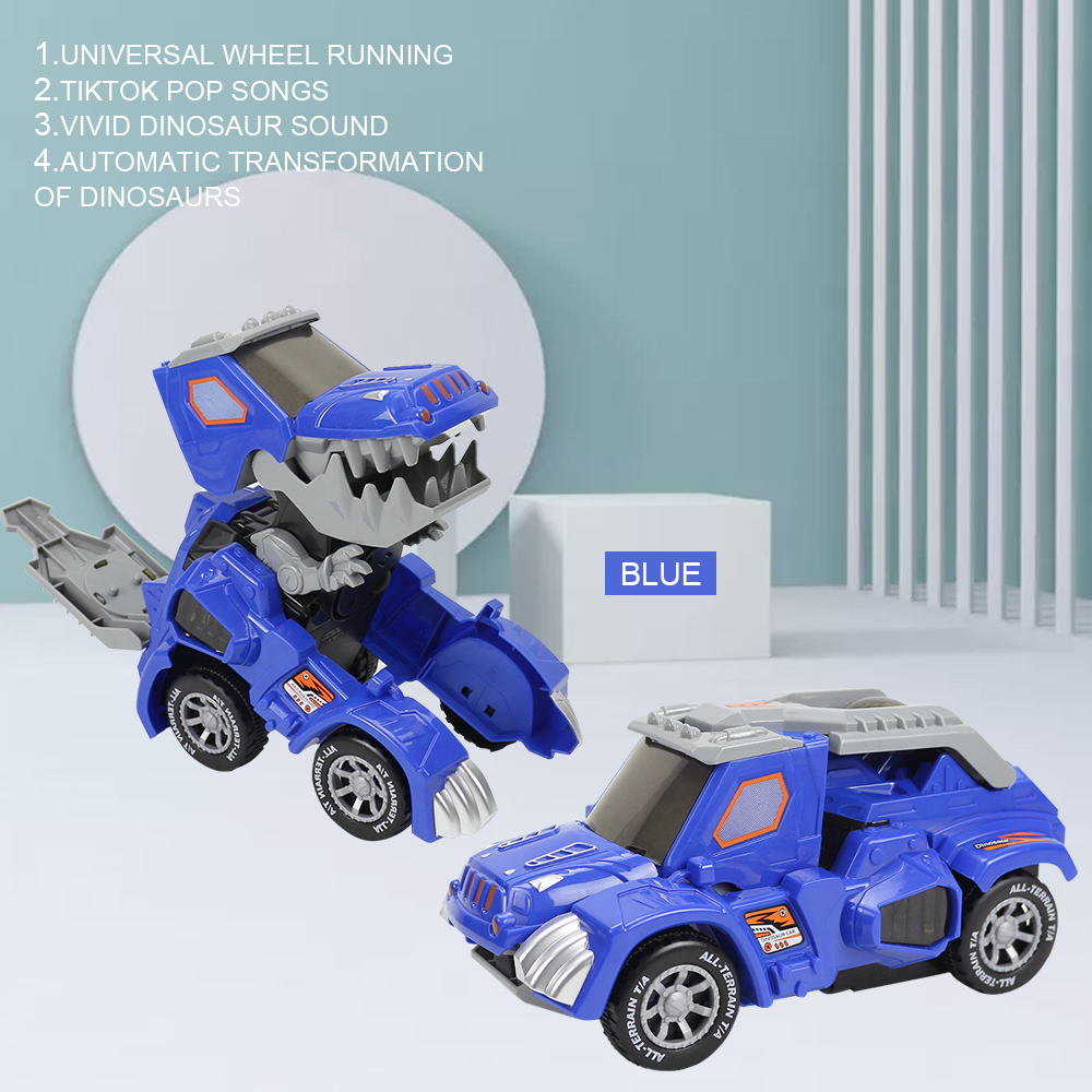 Remote Control Car Deformation Automatic Transform  with Light and Music Toy Car for Children Gift blue