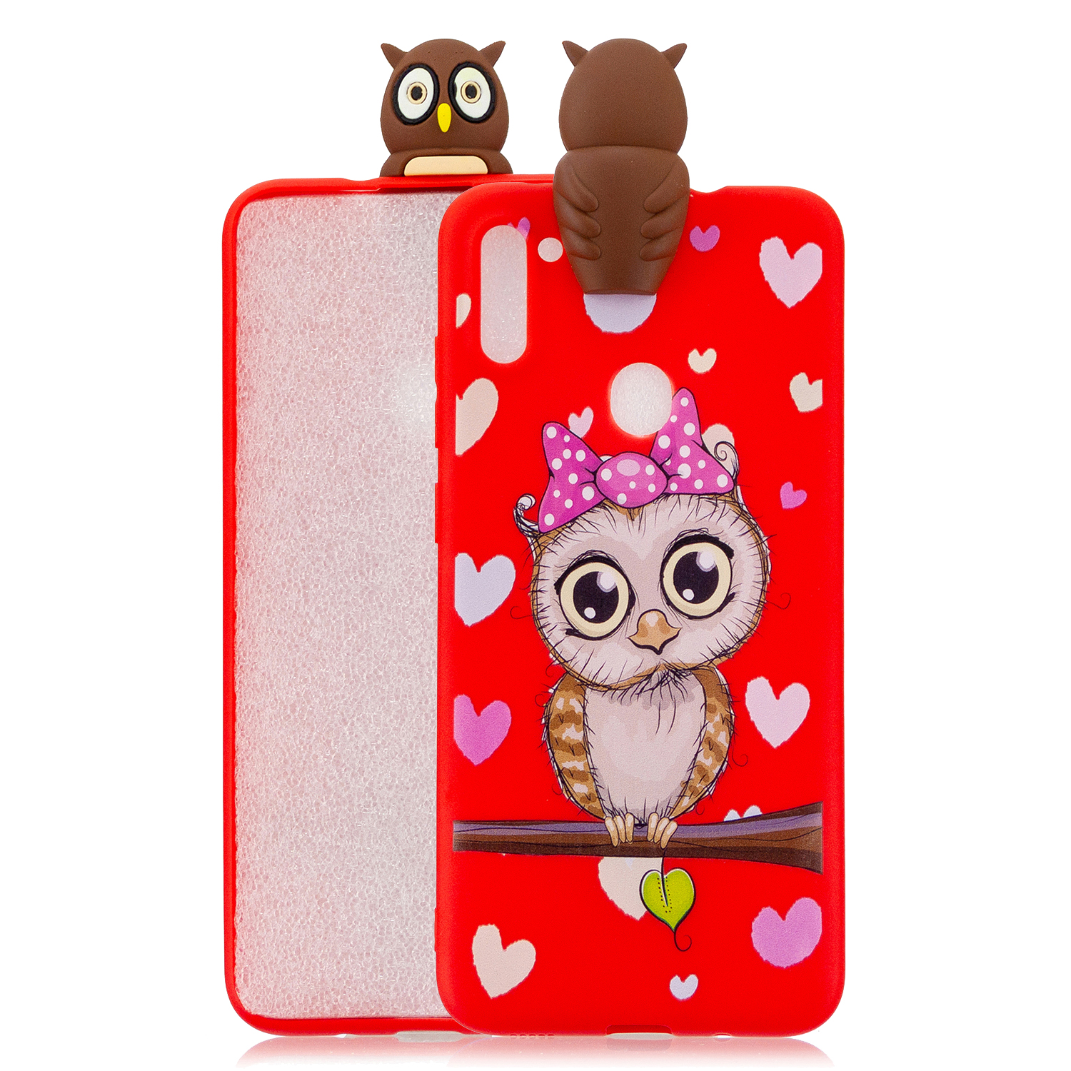 For Samsung A11 Soft TPU Back Cover 3D Cartoon Painting Mobile Phone Case Shell Red owl