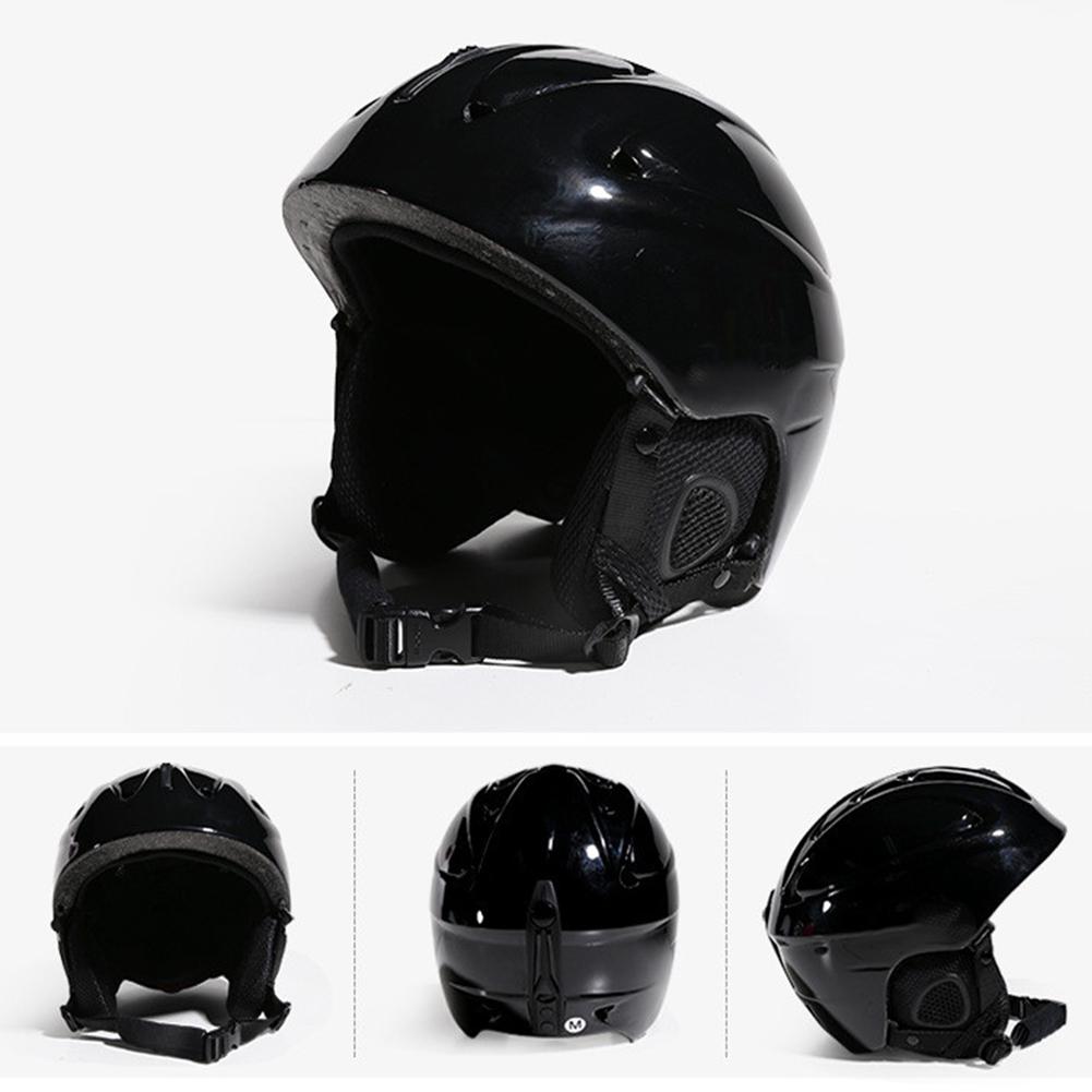Integrated Molding Ski Helmet Safety Snowboard Helmet Protective Gear Equipment for Adult Children Bright black_L