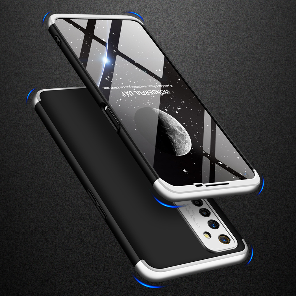 For OPPO Realme 6 Mobile Phone Cover 360 Degree Full Protection Phone Case Silver Black Silver