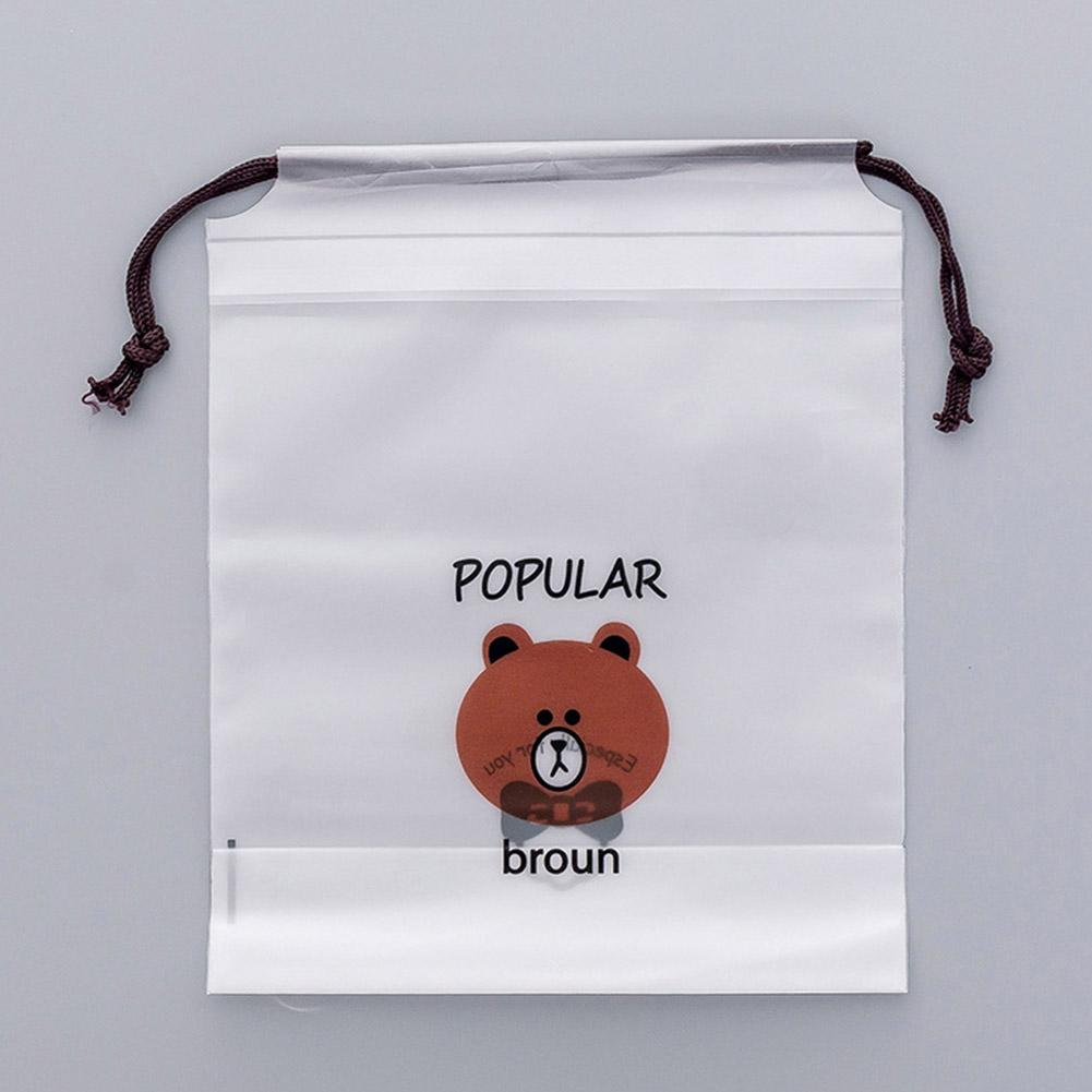 Portable Cartoon Brown Bear Printing Drawstring Bag for Travel Jewelry Earphone Cosmetic Storage 25.8X18CM