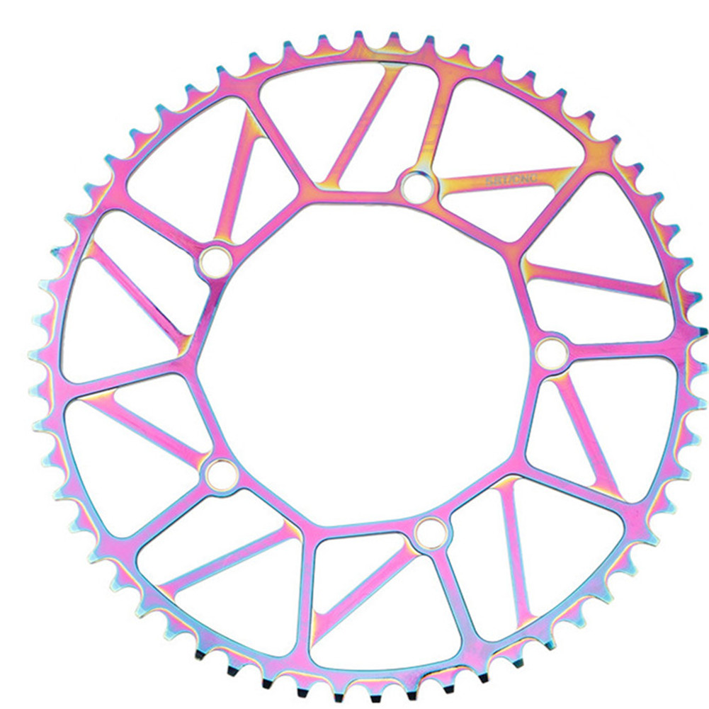 Bike Chainwheel Narrow Width Anti-hanging Chain Colorful Plating Chainring For Brompton 50 52 54 56 58T Colorful electroplating
