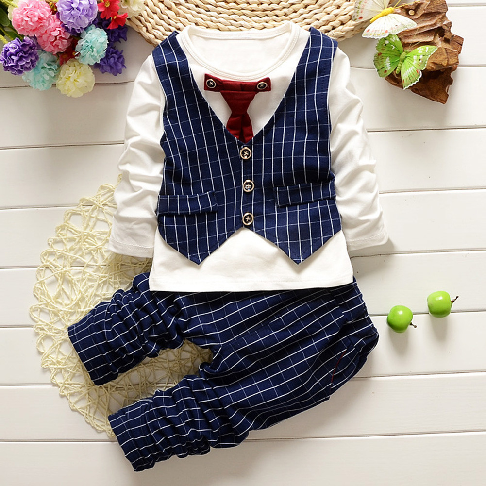 2Pcs Children Baby Gentleman Suit Tie Vest Long Sleeve and Pants Tie vest navy blue_80cm