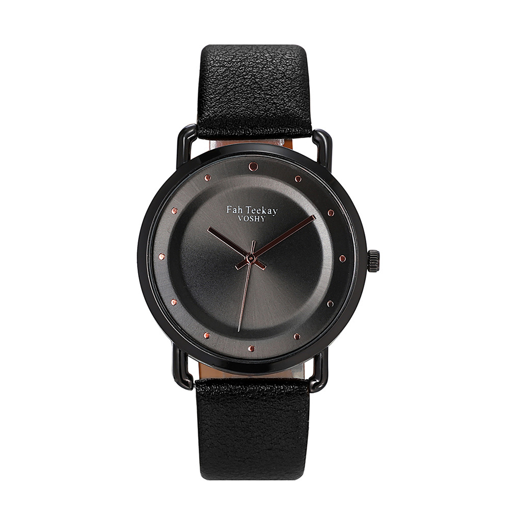 Men Women Fashion Casual Large Dial Leather Watchband Quartz Watch