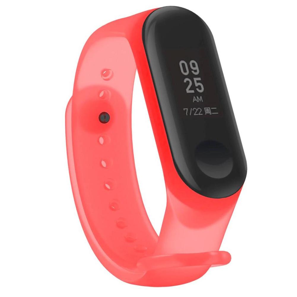 Smart Bracelet Wristband Applicable to Xiaomi 3 Bracelet Smart Watch Wristband Transparent Jelly Wristband  Red