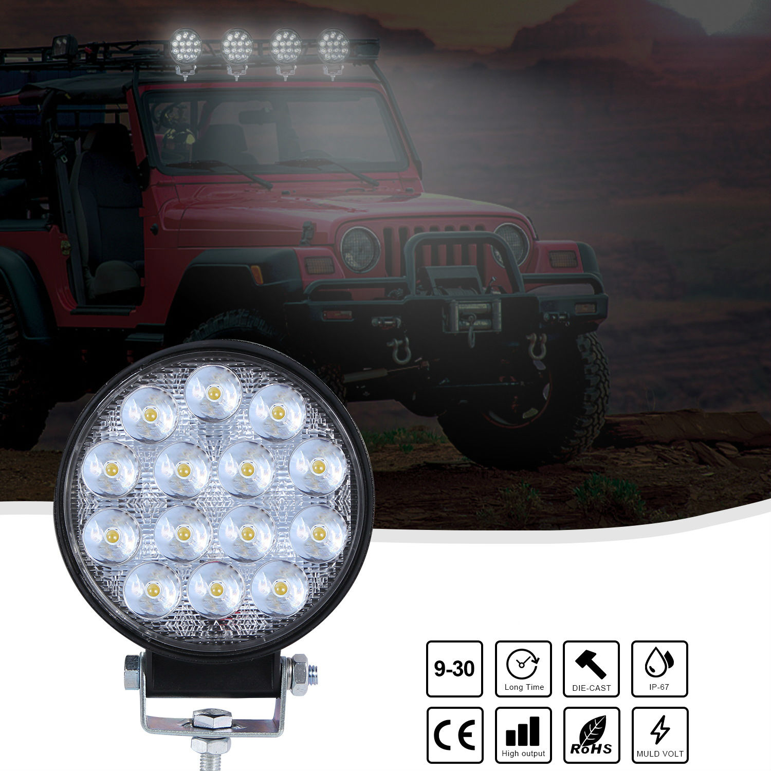 4inch Round Super Slim 140w Spotlight Led Work Light Driving Fog Lights