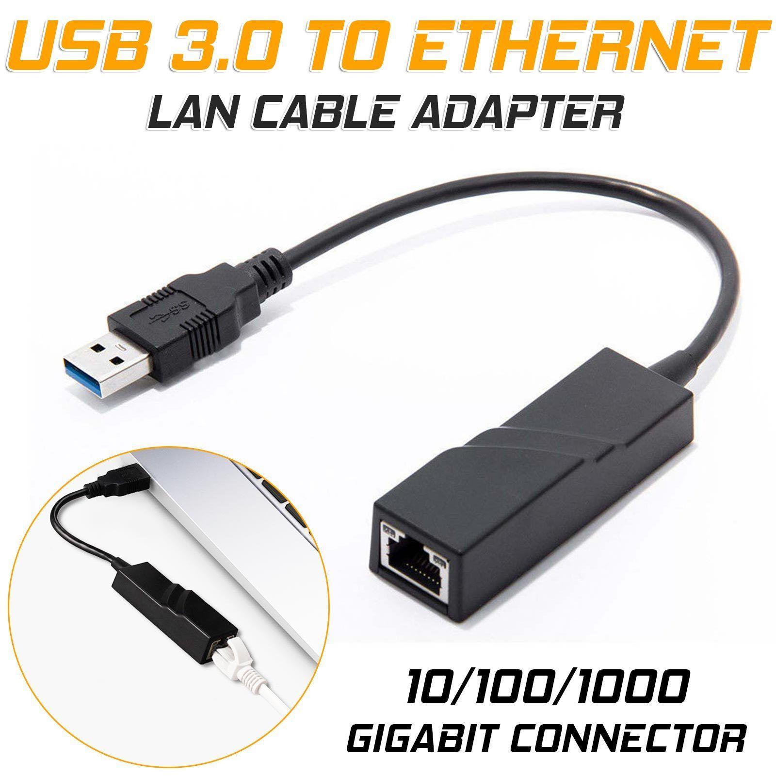 USB 3.0 to Ethernet LAN Internet Cable Adapter Gigabit 10/100/1000 Mbps Hub black