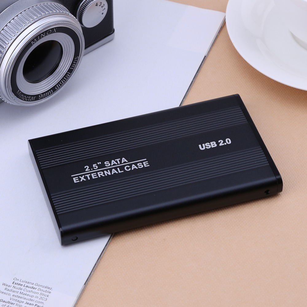 2.5 Inch USB 2.0/3.0 SATA External Mobile Hard Disk Box HDD Aluminum Alloy Shell Adapter Case Enclosure Box for PC Laptop Notebook Black USB2.0
