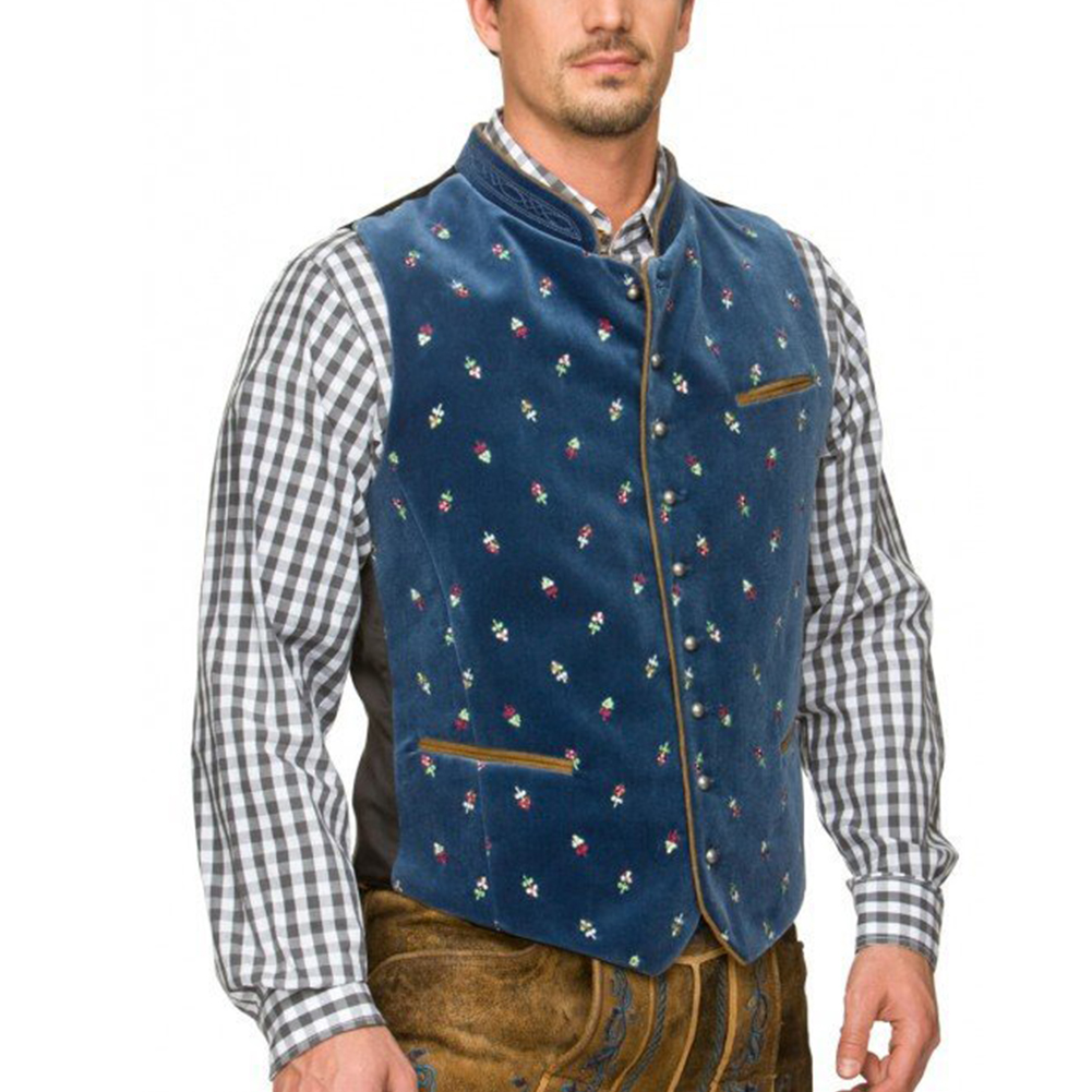 Men Casual Vest Beer Festival Waistcoat for Bavarian Traditional Costume Festival Party Embroidered dark blue_50