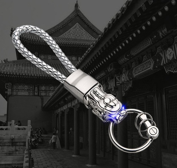 LED Light Chinese Brave Troops Model Keychain Key Holder Car Key Ring Chain Automobile Car Styling Car Accessories White copper tin + white rope