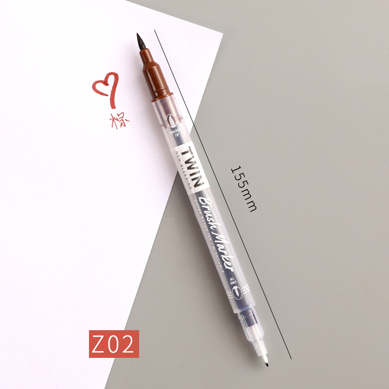 Double Head Marker Pen Multi Color Watercolor Water Based Hand Account Painting Pen Stationery Office Stationery Z02 brown_15cm