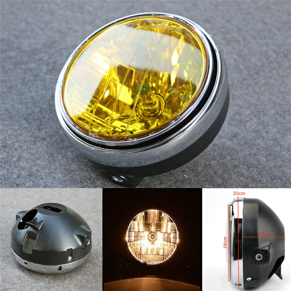 For Honda CB series 7 Inch 35W Universal Motorcycle Headlight Yellow Crystal Glass Clear Lens Beam Round LED HeadLamp
