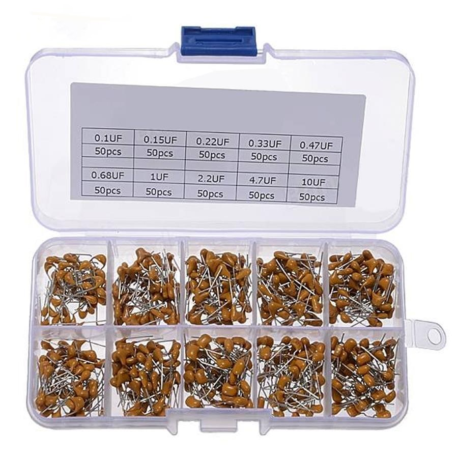 Multilayer Ceramic Capacitor Kit Storage Box 0.1uF-10uF(104-106) 500 pcs / box
