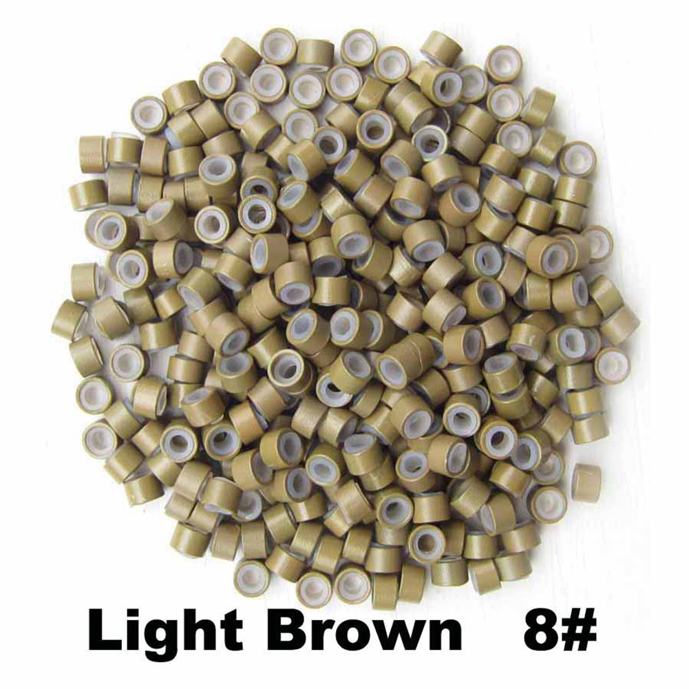 500pcs Silicone Micro Ring Aluminium Rings/Links/Beads Hair Extensions Tools for Human Hair Light brown