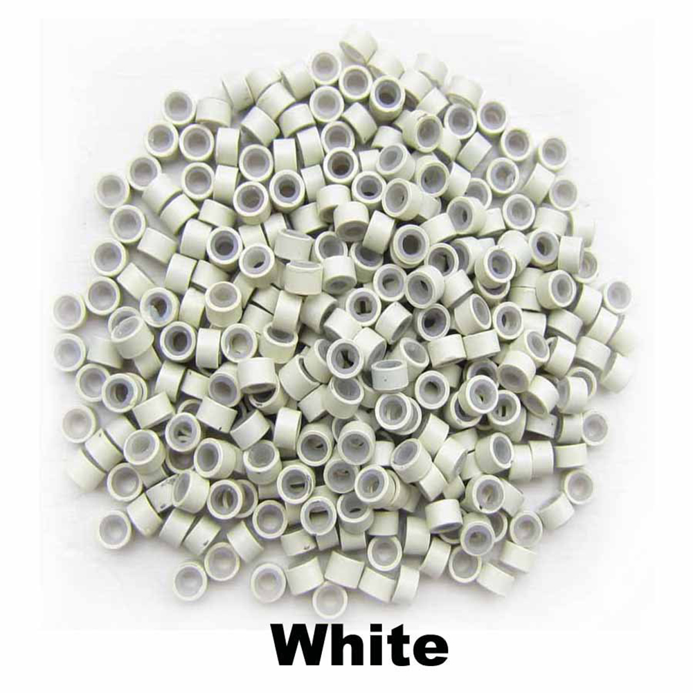 500pcs Silicone Micro Ring Aluminium Rings/Links/Beads Hair Extensions Tools for Human Hair white