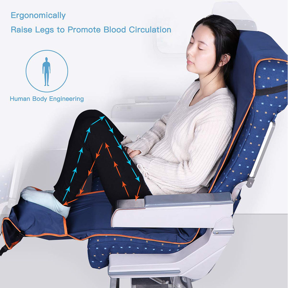 Height Adjustable Footrest Hammock with Inflatable Pillow Seat Cover for Planes Trains Buses blue