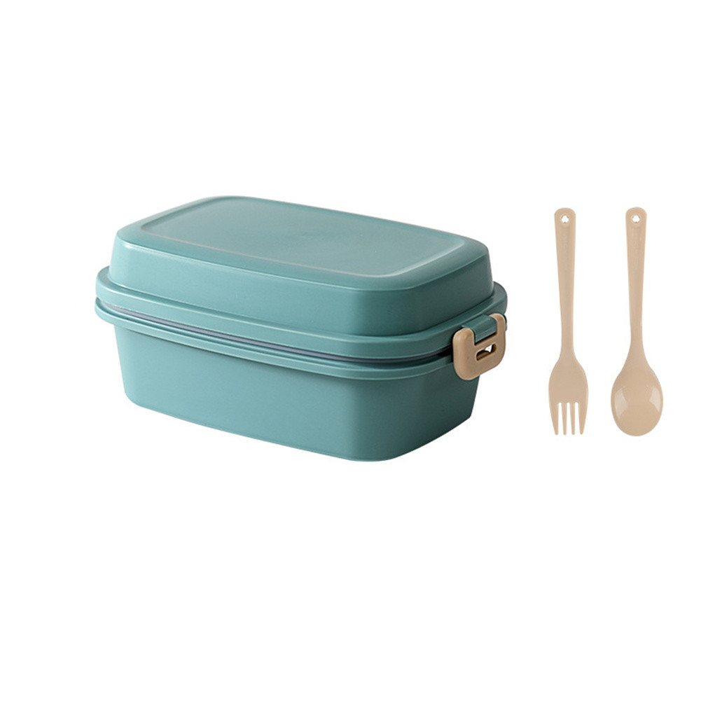 Double Buckle Frosted Lunch  Box With Spoon Fork Food Storage  Container green