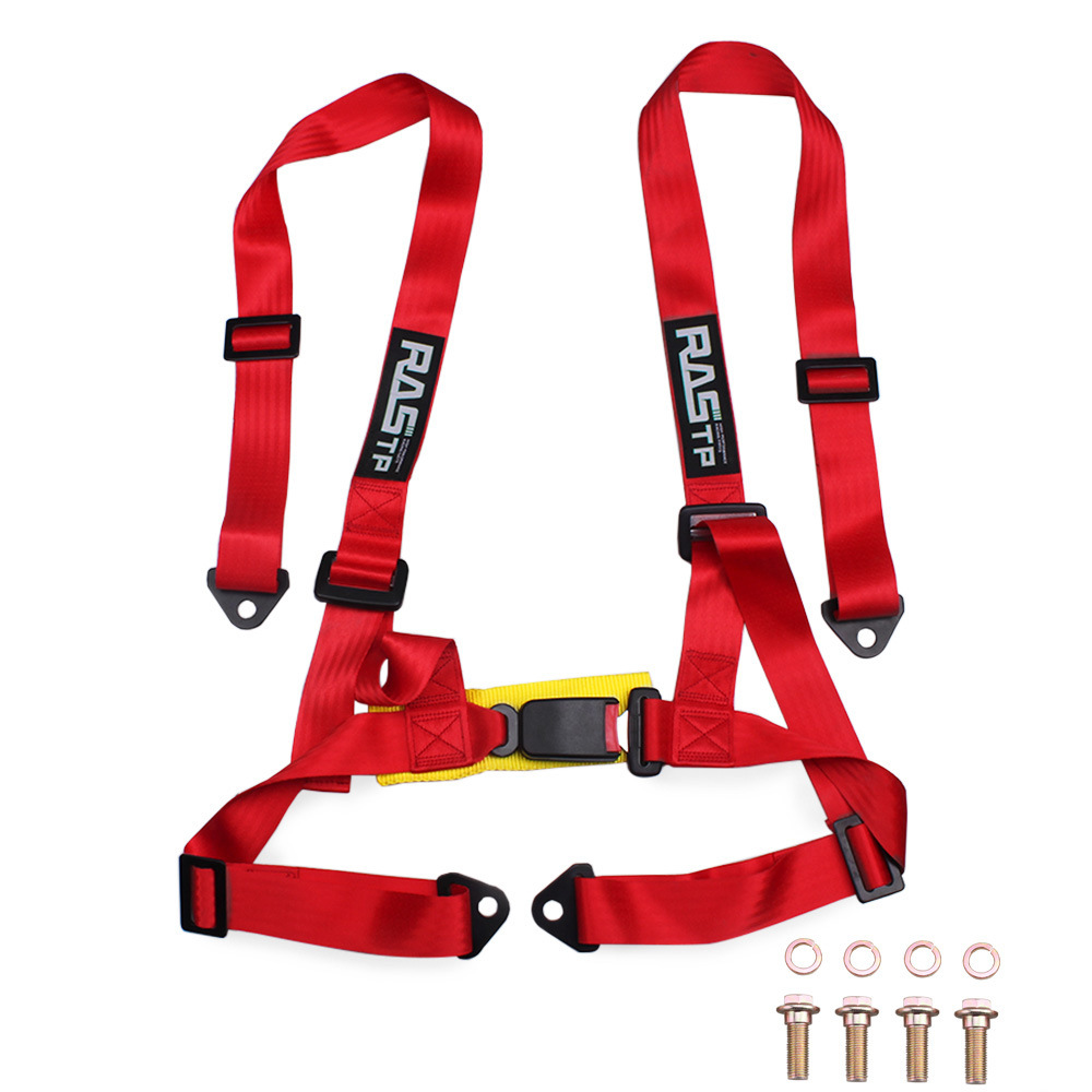 Car Modification 2 Inch 4-point Kart Racing Seat Belt Quick Release Seat Belt Safety Belt Red