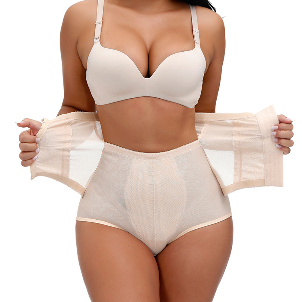 Women's Underpants Polyester Fiber Solid Color Body Shaping High-waist Boxer skin color_xl