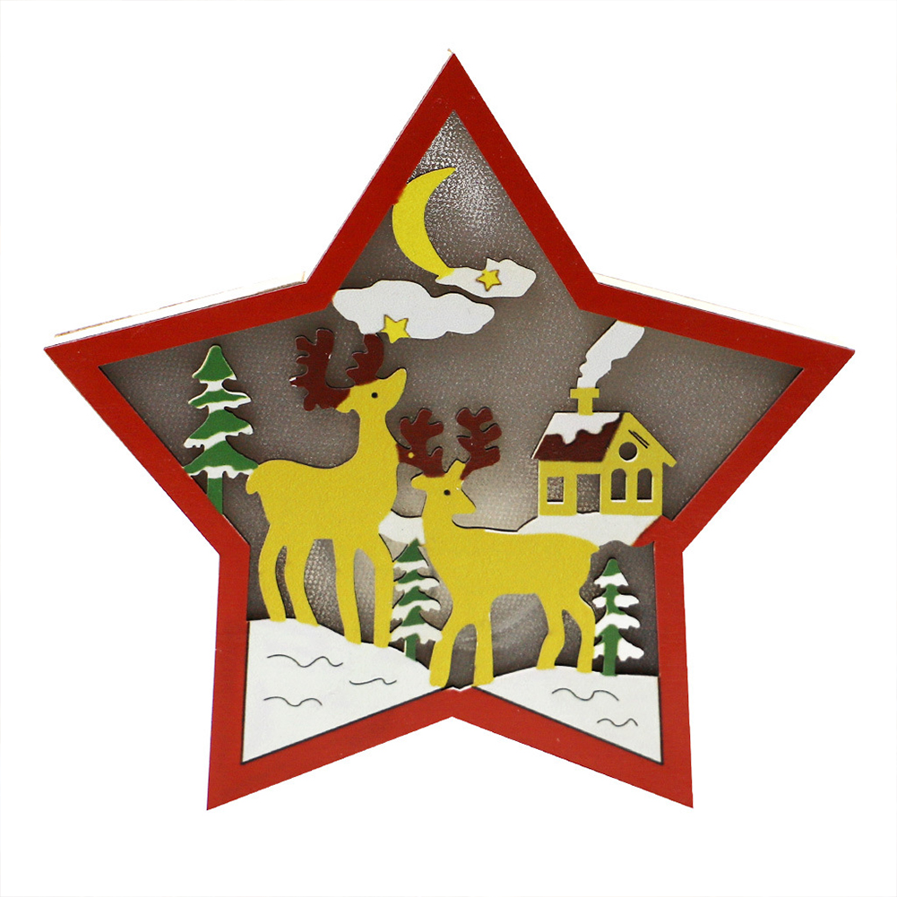 Wooden Christmas  Ornaments Five-pointed Star With Led Light Table Decoration Crafts JM00912 Elk